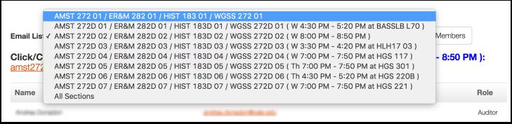 screenshot of email list tool.