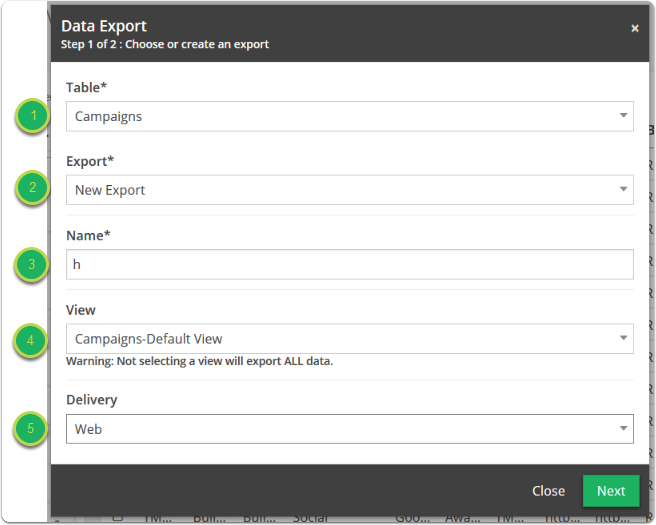 Name your export , select which view will be exported (none for entire table), and select File for your delivery type.