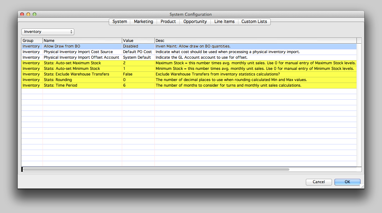 Inventory Statistic-related System Configuration settings.