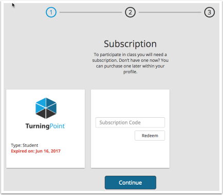 Subscription dashboard.