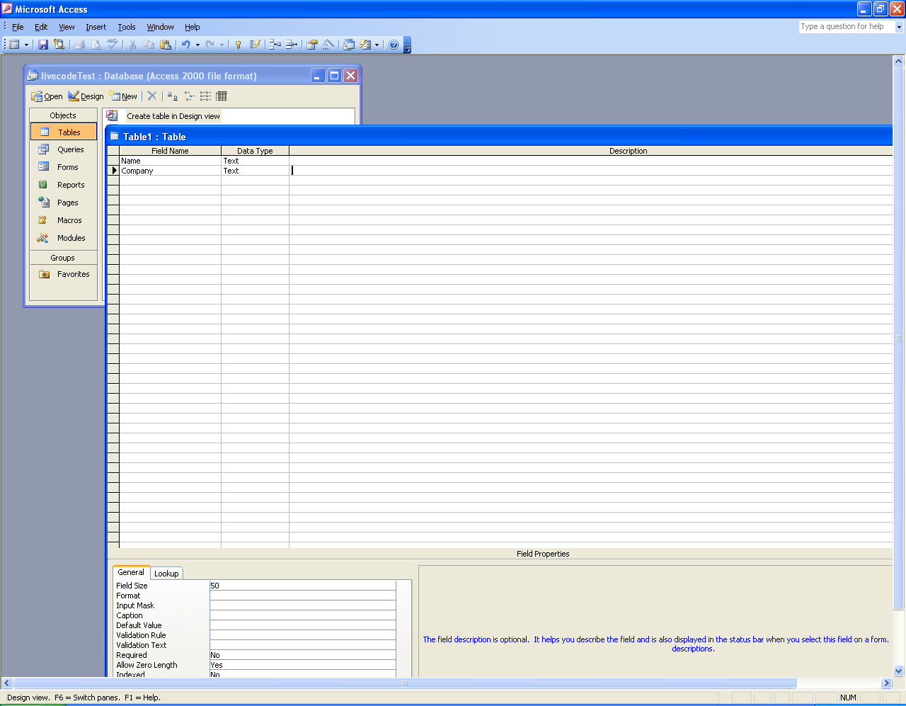 Creating a table in MS Access