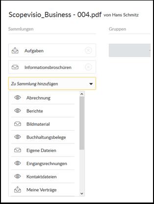 Dateien zu einer Sammlung hinzufügen