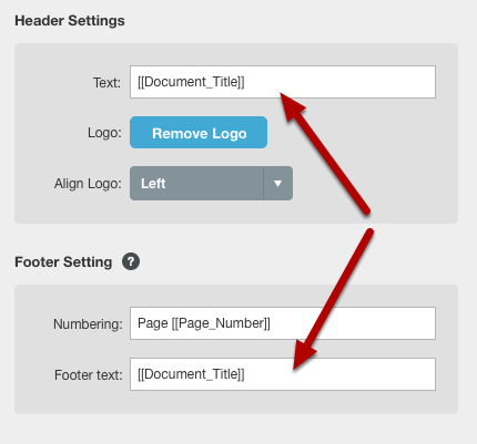 Header, Footer, Title Page Header and Title Page Footer Fields