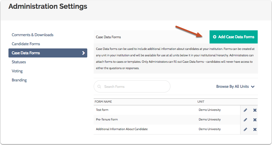 "Click ""Add Case Data Forms"" button"