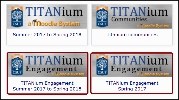 TITANium landing page with TITANium Engagement button highlighted