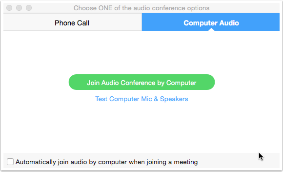 Zoom audio conference option window, join by phone call, compuer audio