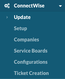 ConnectWise integration menu