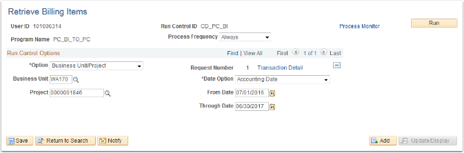 Retrieve Billing Items page