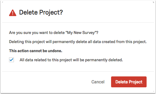 Delete project warning