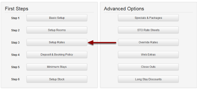 Click on Step 3: Setup Rates