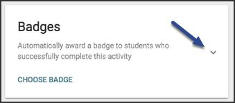 Image of the badges card highlighting the arrow to collapse and expand on the right.