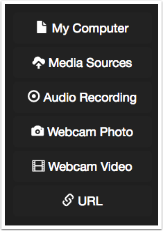 VoiceThread media upload options, my computer, media sources, audio recording, webcam photo, webcam video, and URL.