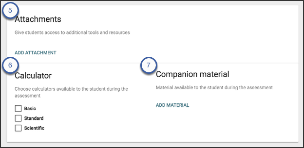 The add attachment option allows users to add a basic, standard, or scientific calculator, upload an attachment, or upload companion material.