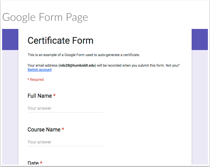 Google Form in Canvas Page