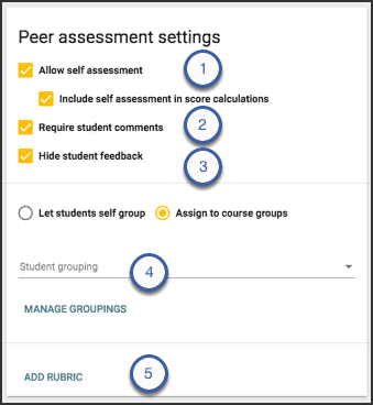 Image of the peer assessment settings card highlighting the mentioned options.