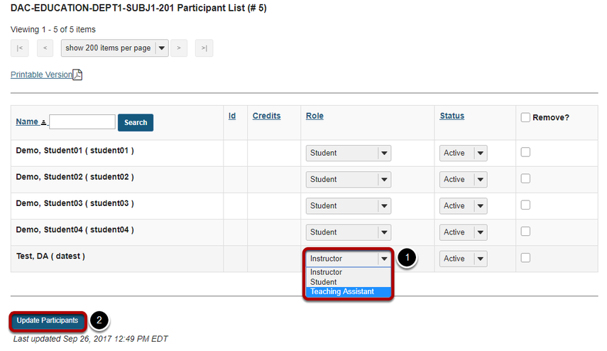 Change the role from the drop-down menu in the list of enrolled participants.