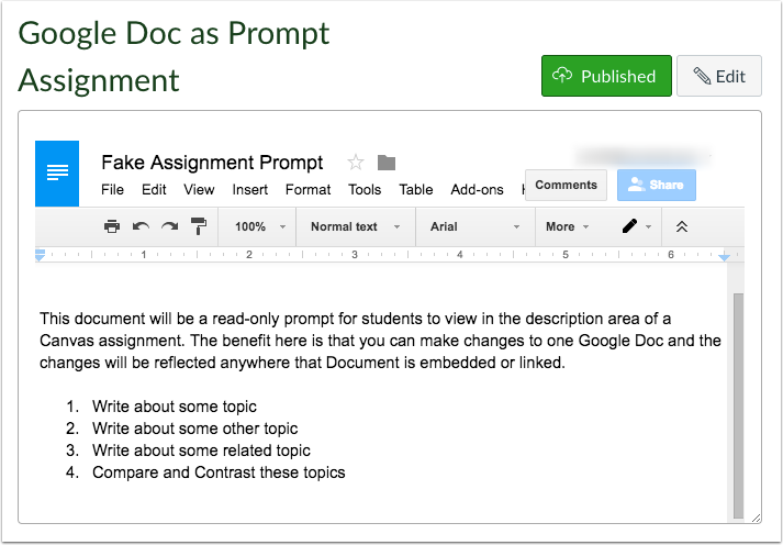 Google Doc assignment prompt from instructor view