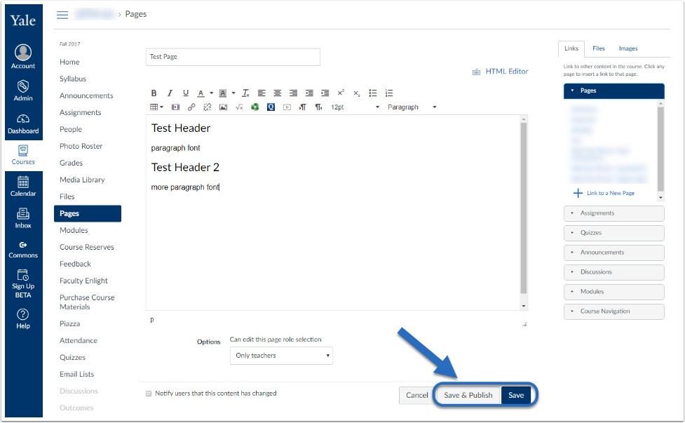 screenshot of save or save & publish
