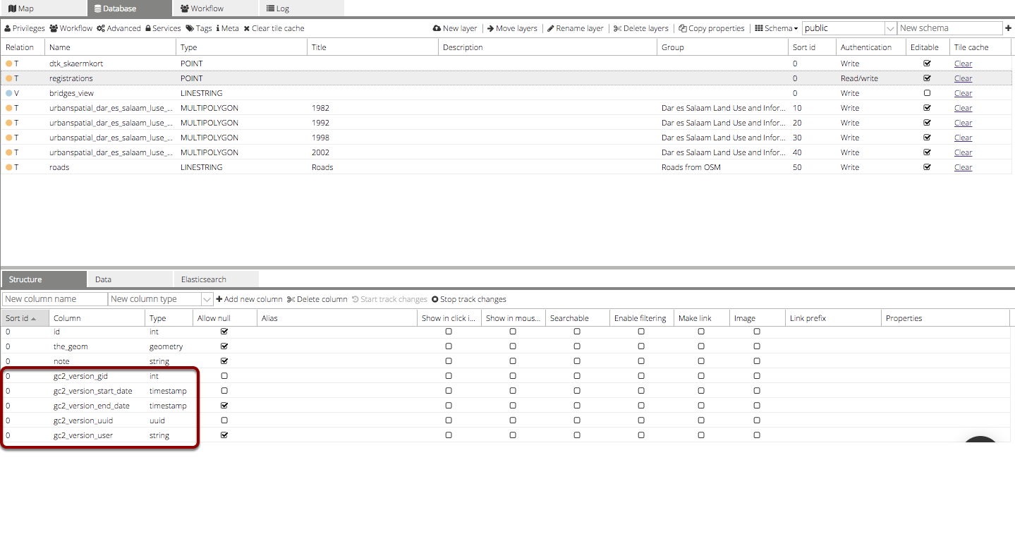 New system fields in the layer table