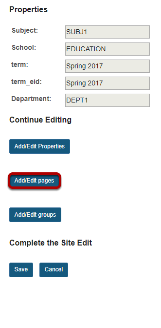 Click Add/Edit Pages.