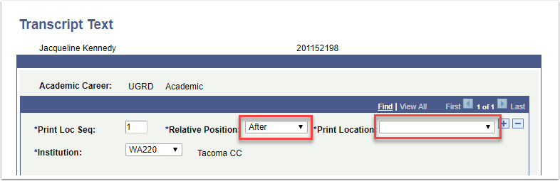 Transcript Text page Revative Position and Print Location