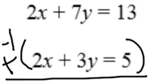 Part 2: Multiply the entire equation by a negative so that the x's are eliminated!