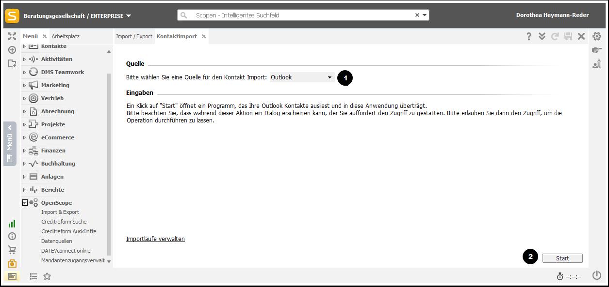 Kontakte aus Outlook importieren