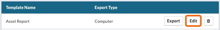 CSV Export Template List