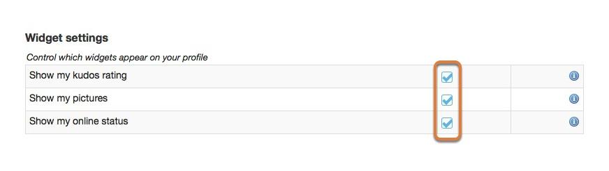 Modifying widget settings