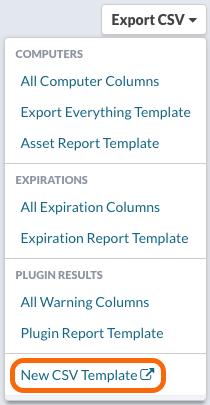 Export CSV > New CSV Template