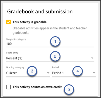 The gradebook and submission card highlighting the just mentioned options.