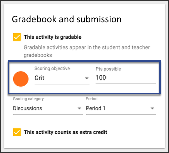 Image of the Gradebook and submission card for multi-outcome scoring courses, highlighting the Grit option.
