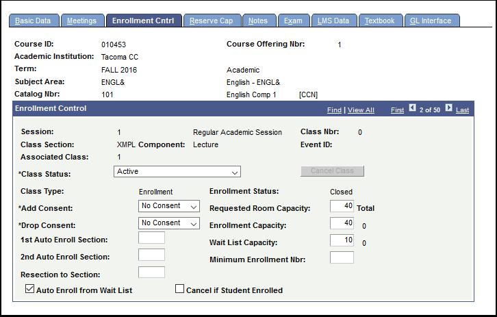 Enrollment Cntrl tab