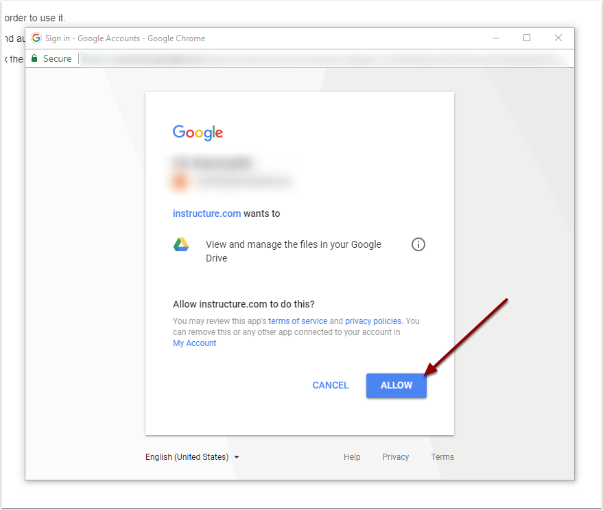 Allow Instructure access to Google Drive