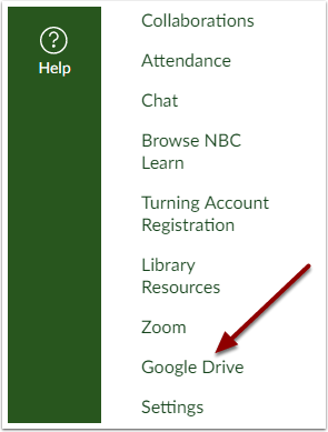 Select Google Drive from Course Navigation Menu
