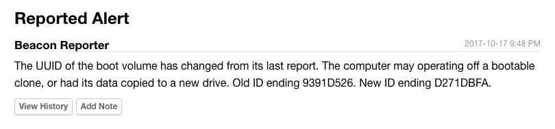 Beacon Reporter - UUID of boot volume changed