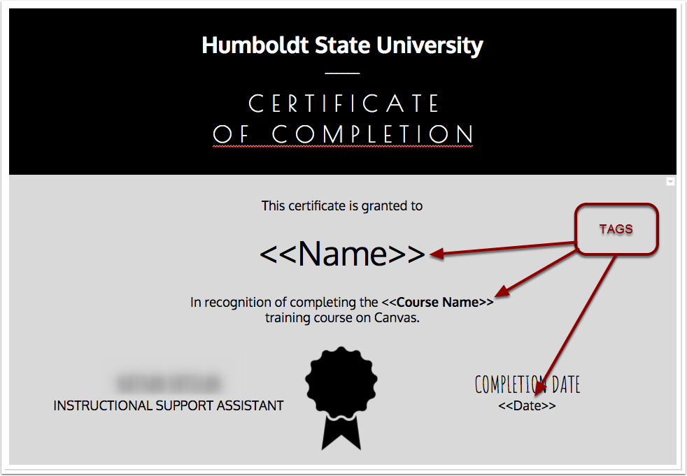 Certificate of completion.
