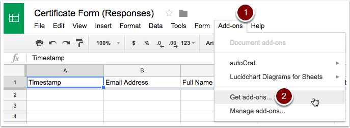 Google Sheets Get add-ons
