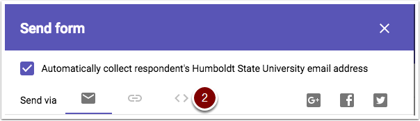 Google Forms embed link button