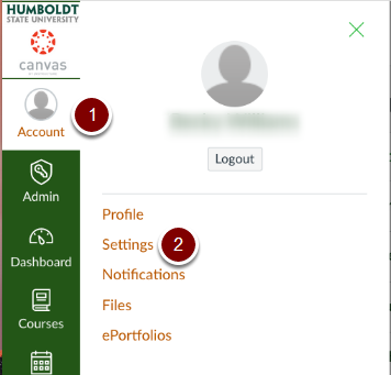 Canvas Account settings buttons