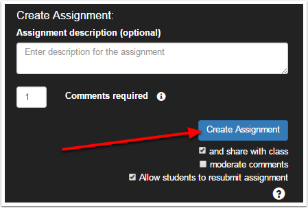 VoiceThread Create Assignment window with an arrow pointing to the Create Assignment button that to the right of the screen.