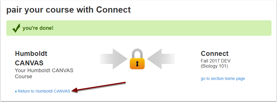 McGraw-Hill Connect finished pairing confirmation