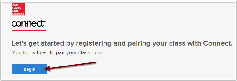 McGraw-Hill Connect Begin pairing button
