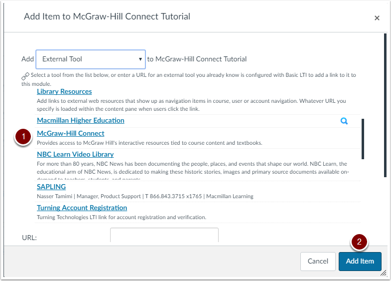 Add McGraw-Hill Connect Module Item