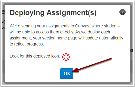 McGraw-Hill Connect Deploying Assignments confirmation