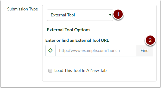 Under submission type select external tool and click find