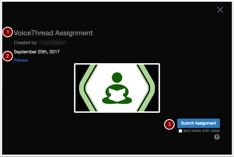 VoiceThread Assignment upload window with name, date, preview and submit assignment button/