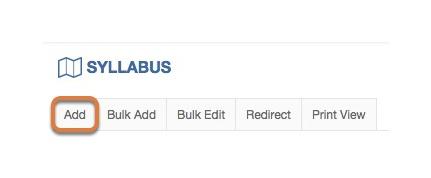 Creating the syllabus item