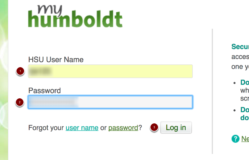 My Humboldt login page