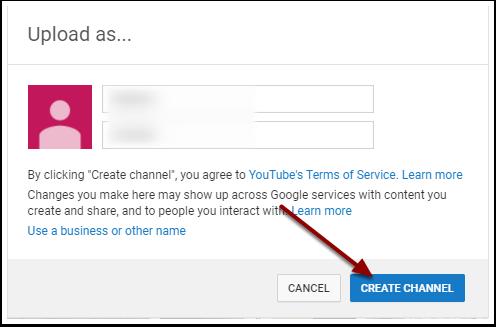 Youtube Create Channel Window